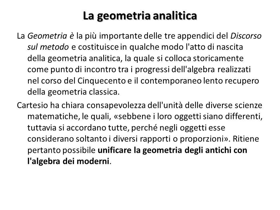 La geometria analitica La Geometria è la più importante delle tre appendici del Discorso sul metodo e costituisce in qualche modo l atto di nascita della geometria analitica, la quale si colloca storicamente come punto di incontro tra i progressi dell algebra realizzati nel corso del Cinquecento e il contemporaneo lento recupero della geometria classica.