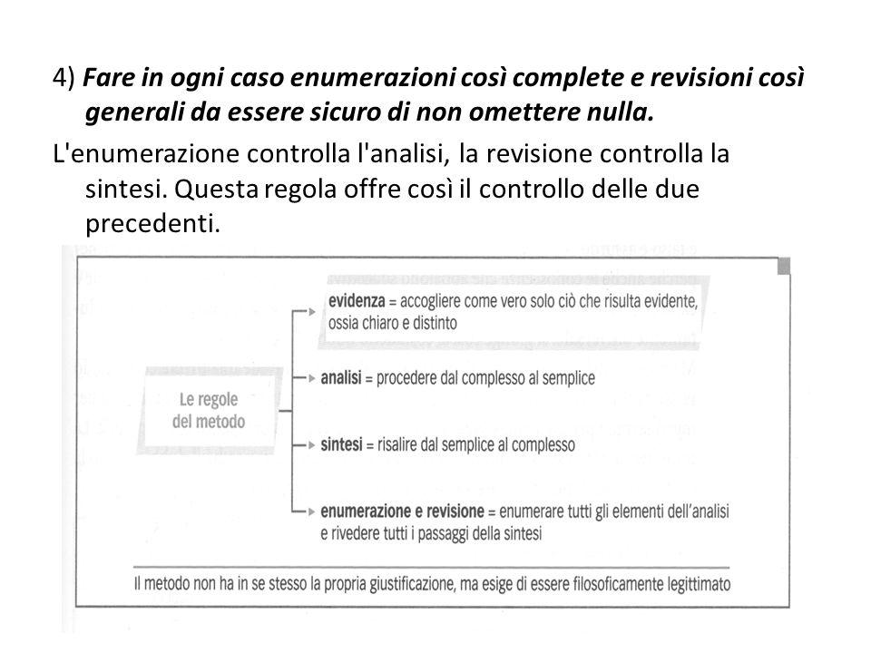 4) Fare in ogni caso enumerazioni così complete e revisioni così generali da essere sicuro di non omettere nulla.