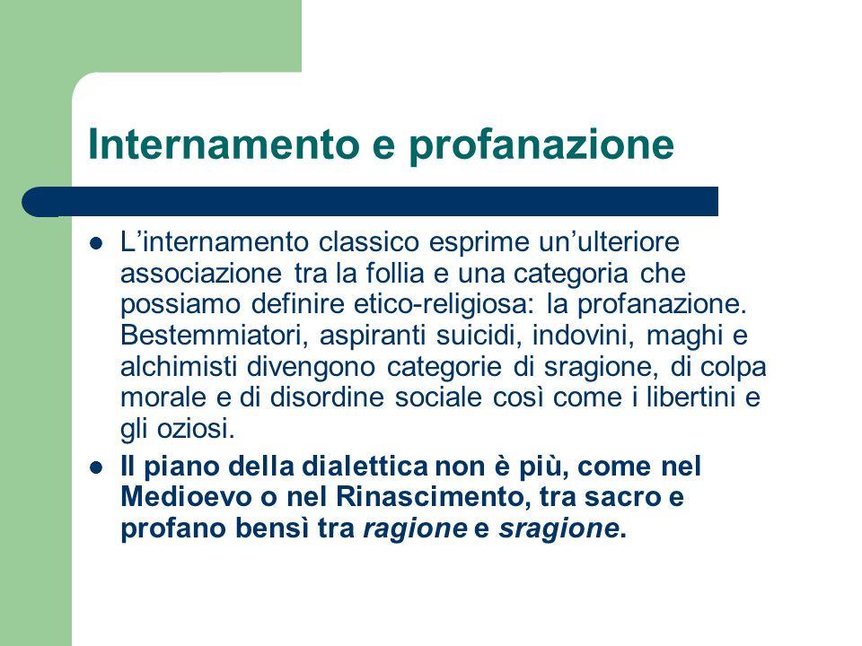 Internamento e profanazione Linternamento classico esprime unulteriore associazione tra la follia e una categoria che possiamo definire etico-religiosa: la profanazione.