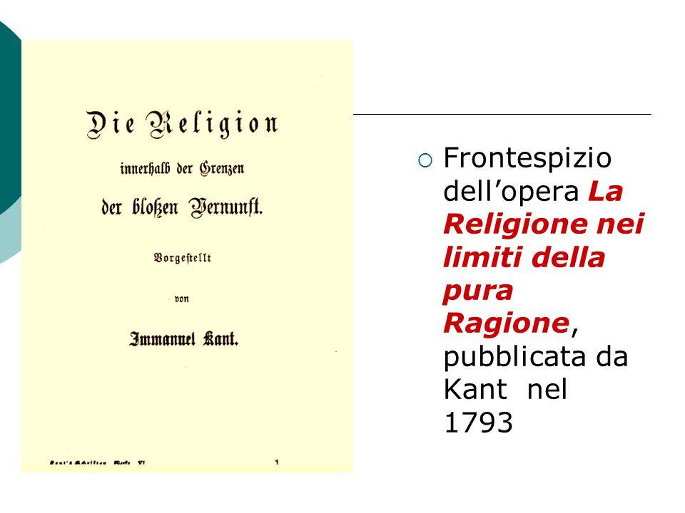 Frontespizio dellopera La Religione nei limiti della pura Ragione, pubblicata da Kant nel 1793