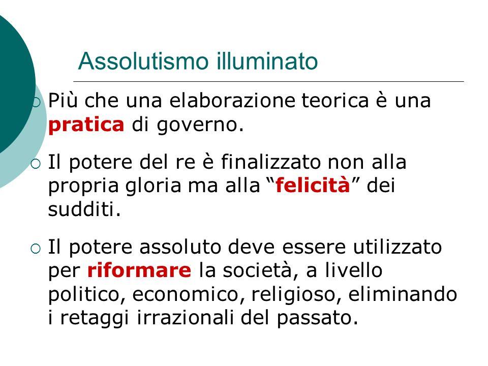 Assolutismo illuminato Più che una elaborazione teorica è una pratica di governo.