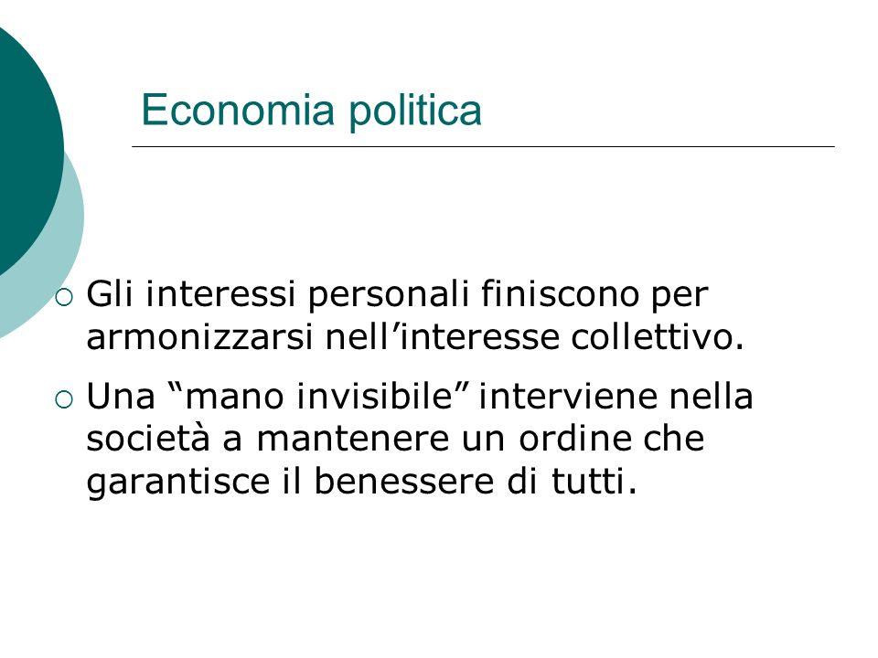 Economia politica Gli interessi personali finiscono per armonizzarsi nellinteresse collettivo.