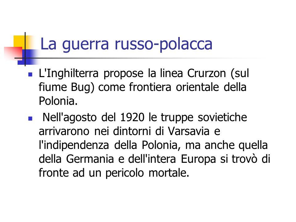 La guerra russo-polacca L Inghilterra propose la linea Crurzon (sul fiume Bug) come frontiera orientale della Polonia.