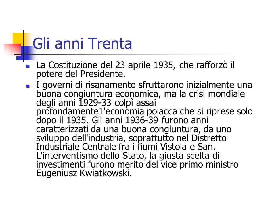Gli anni Trenta La Costituzione del 23 aprile 1935, che rafforzò il potere del Presidente. I governi di risanamento sfruttarono inizialmente una buona