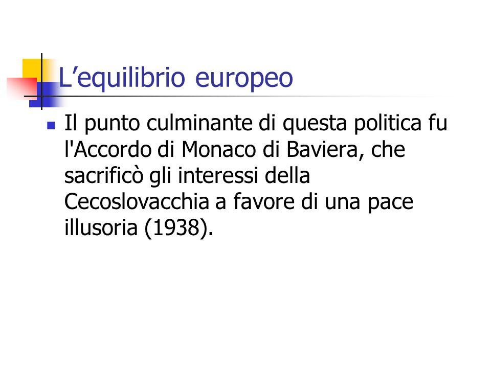 Lequilibrio europeo Il punto culminante di questa politica fu l'Accordo di Monaco di Baviera, che sacrificò gli interessi della Cecoslovacchia a favor
