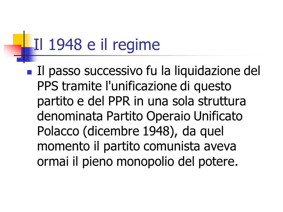 Il 1948 e il regime Il passo successivo fu la liquidazione del PPS tramite l unificazione di questo partito e del PPR in una sola struttura denominata Partito Operaio Unificato Polacco (dicembre 1948), da quel momento il partito comunista aveva ormai il pieno monopolio del potere.