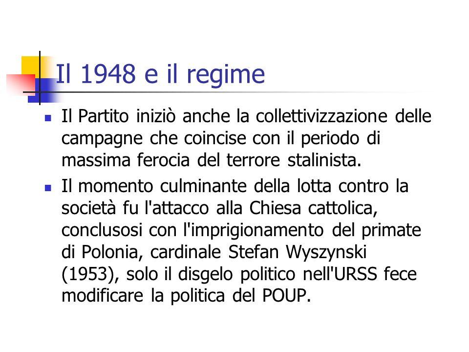 Il 1948 e il regime Il Partito iniziò anche la collettivizzazione delle campagne che coincise con il periodo di massima ferocia del terrore stalinista