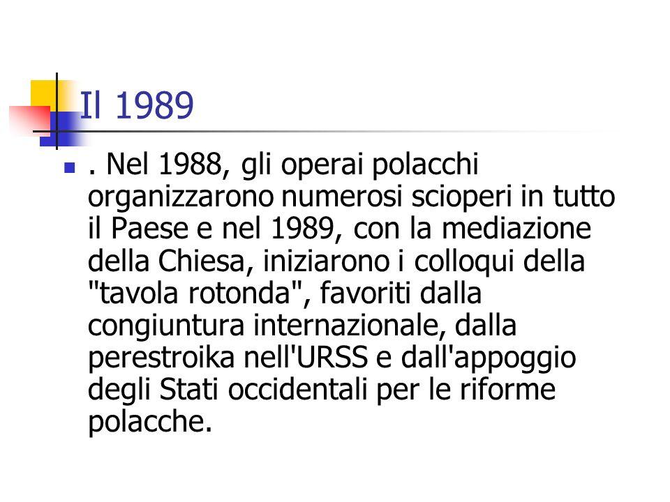 Il 1989. Nel 1988, gli operai polacchi organizzarono numerosi scioperi in tutto il Paese e nel 1989, con la mediazione della Chiesa, iniziarono i coll