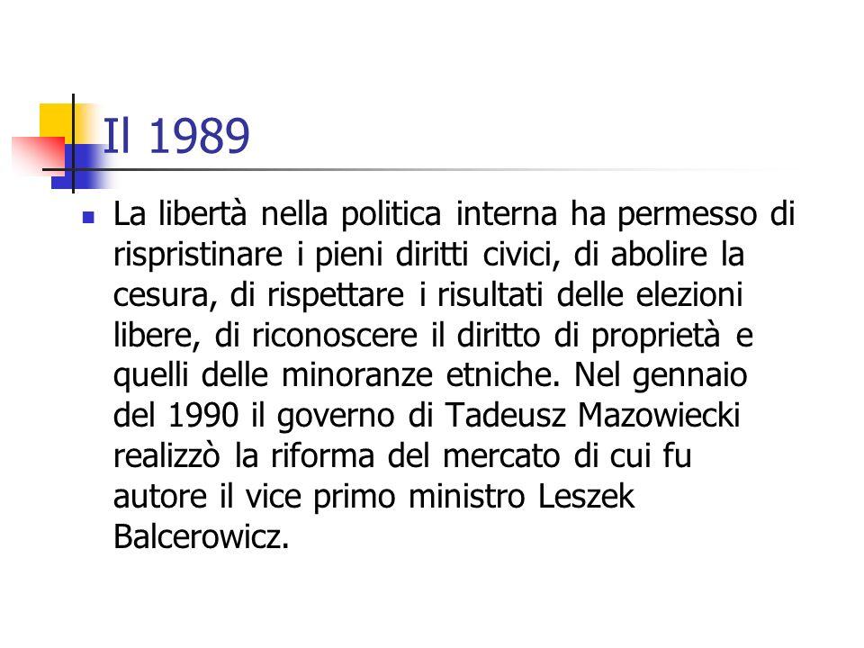 Il 1989 La libertà nella politica interna ha permesso di rispristinare i pieni diritti civici, di abolire la cesura, di rispettare i risultati delle e