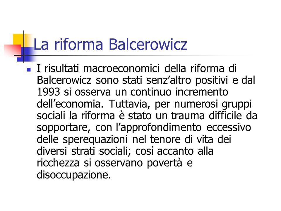La riforma Balcerowicz I risultati macroeconomici della riforma di Balcerowicz sono stati senzaltro positivi e dal 1993 si osserva un continuo incremento delleconomia.