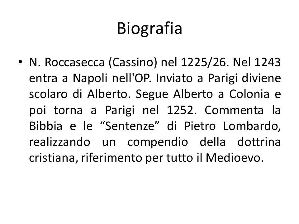 Biografia N. Roccasecca (Cassino) nel 1225/26. Nel 1243 entra a Napoli nell'OP. Inviato a Parigi diviene scolaro di Alberto. Segue Alberto a Colonia e