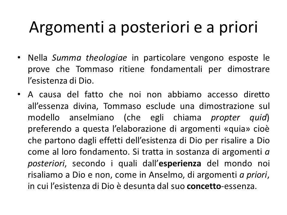 Argomenti a posteriori e a priori Nella Summa theologiae in particolare vengono esposte le prove che Tommaso ritiene fondamentali per dimostrare lesis