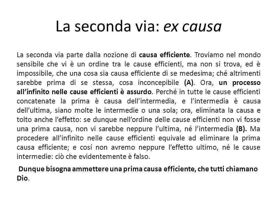 La seconda via: ex causa La seconda via parte dalla nozione di causa efficiente. Troviamo nel mondo sensibile che vi è un ordine tra le cause efficien