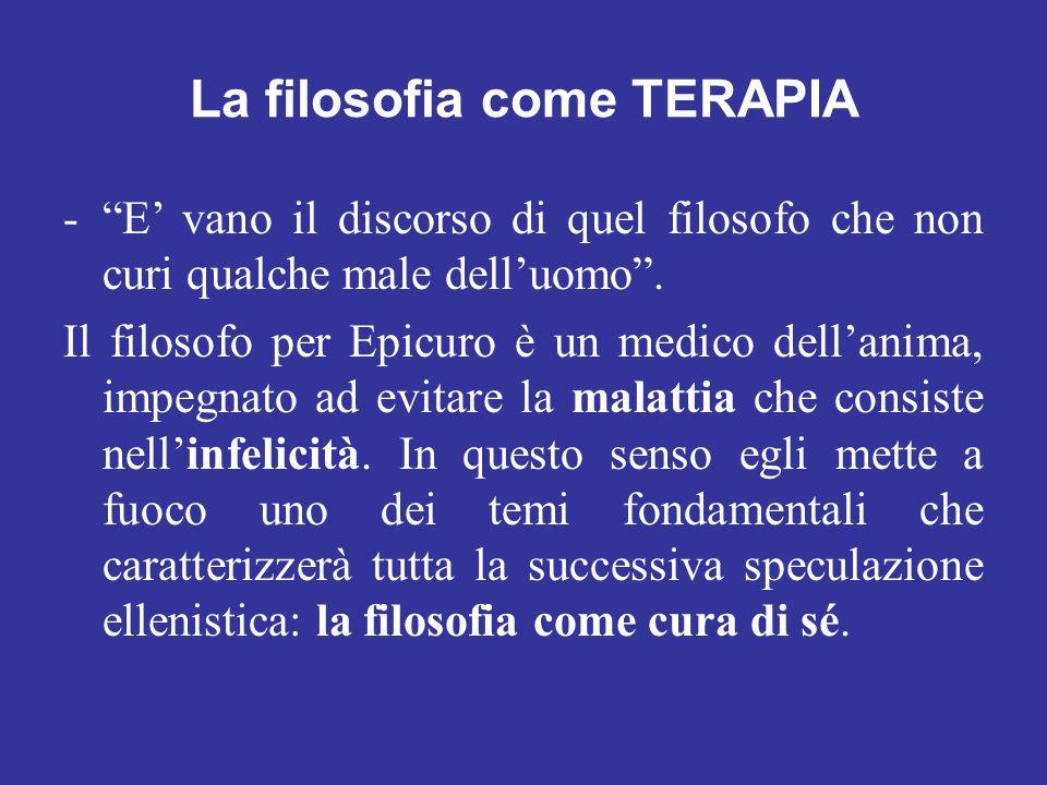 La filosofia come TERAPIA -E vano il discorso di quel filosofo che non curi qualche male delluomo. Il filosofo per Epicuro è un medico dellanima, impe