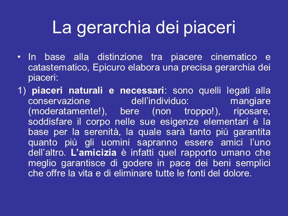La gerarchia dei piaceri In base alla distinzione tra piacere cinematico e catastematico, Epicuro elabora una precisa gerarchia dei piaceri: 1) piacer