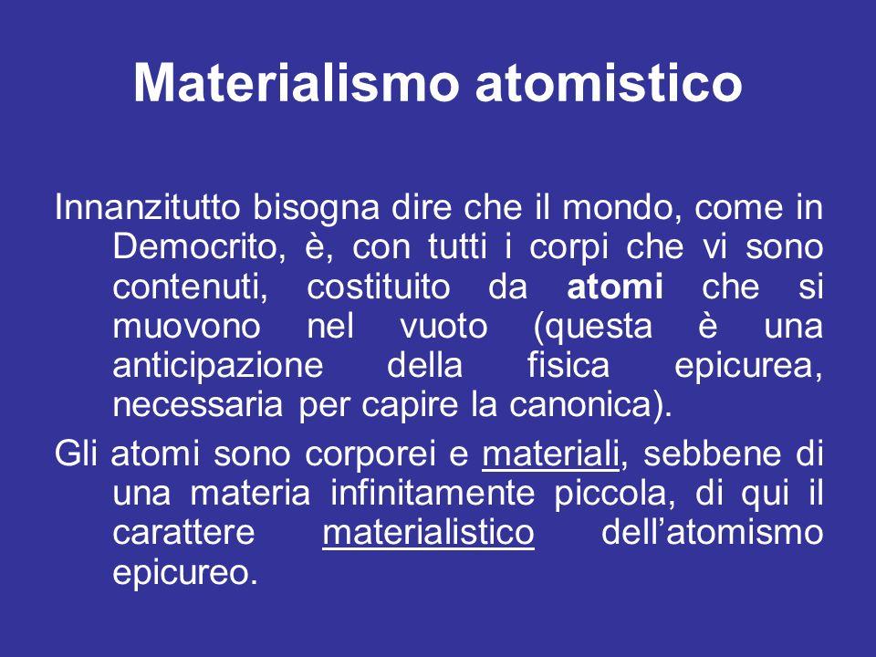Materialismo atomistico Innanzitutto bisogna dire che il mondo, come in Democrito, è, con tutti i corpi che vi sono contenuti, costituito da atomi che si muovono nel vuoto (questa è una anticipazione della fisica epicurea, necessaria per capire la canonica).