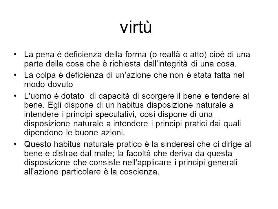 virtù La pena è deficienza della forma (o realtà o atto) cioè di una parte della cosa che è richiesta dall'integrità di una cosa. La colpa è deficienz