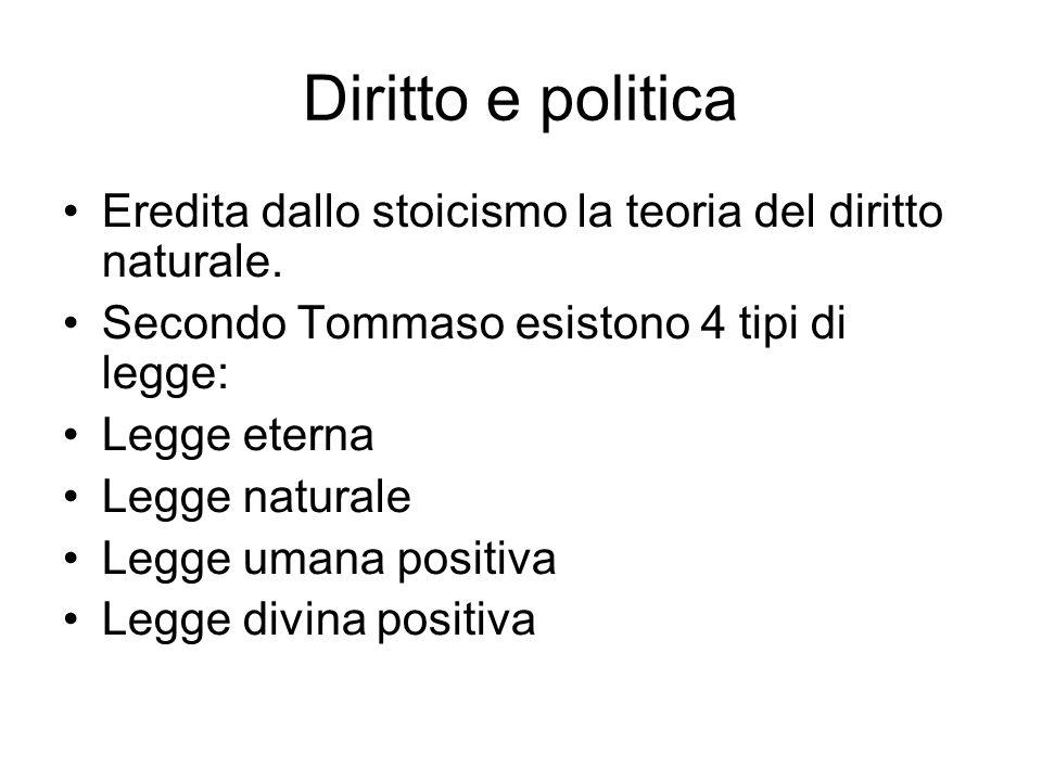 Diritto e politica Eredita dallo stoicismo la teoria del diritto naturale. Secondo Tommaso esistono 4 tipi di legge: Legge eterna Legge naturale Legge