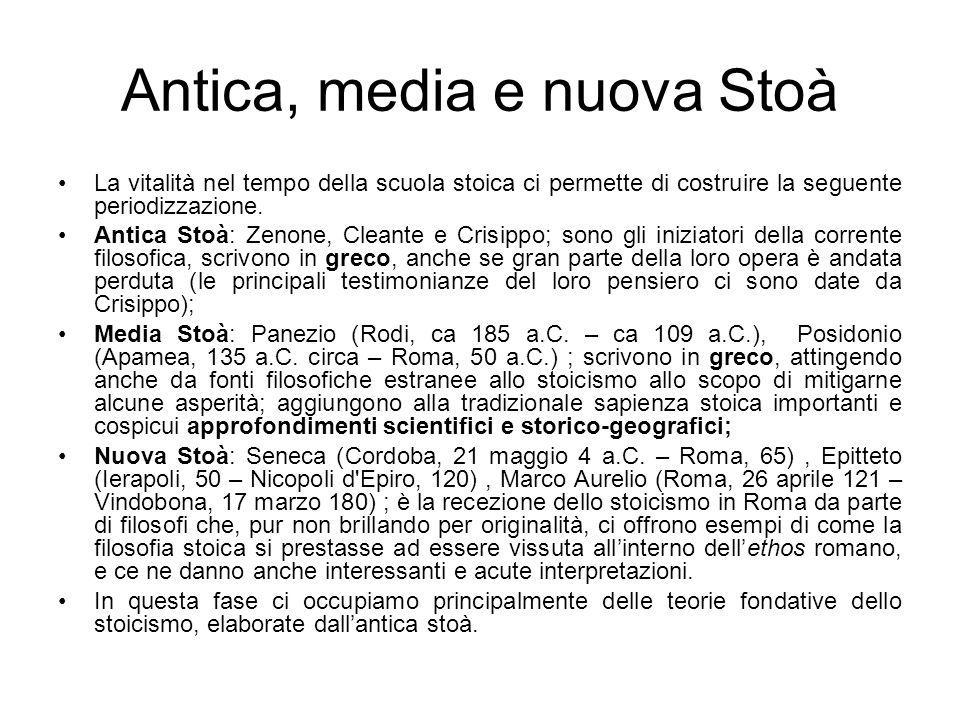 Antica, media e nuova Stoà La vitalità nel tempo della scuola stoica ci permette di costruire la seguente periodizzazione. Antica Stoà: Zenone, Cleant