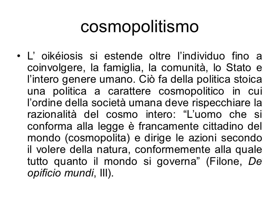 cosmopolitismo L oikéiosis si estende oltre lindividuo fino a coinvolgere, la famiglia, la comunità, lo Stato e lintero genere umano. Ciò fa della pol