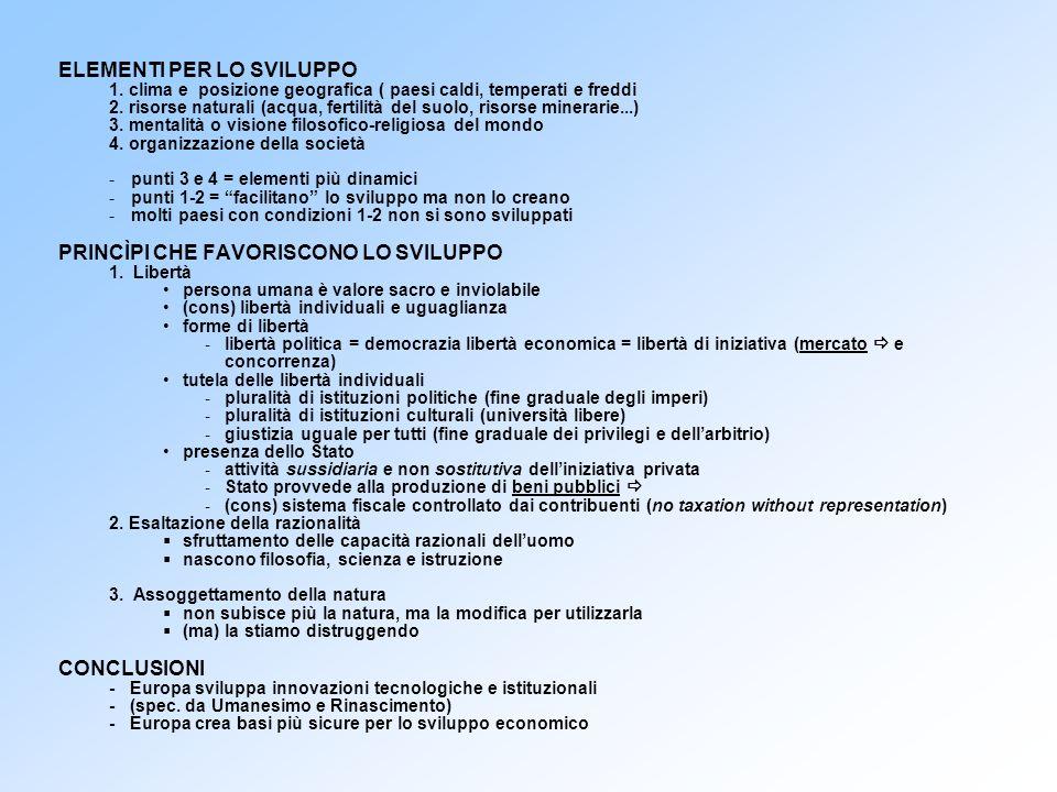 ISTITUZIONI E PRATICHE ECONOMICHE - sono molte quelle sviluppate in Europa Banca e pratiche bancarie (Italia dal 1100-1200) Partita doppia (Italia dal 300-400) Assicurazione (Italia dal 200-300) Commenda (Italia, 100) Servizio postale (Austria, 400) Borsa (Anversa, 500) Brevetto (Inghilterra, 600) Codici di commercio (sec.
