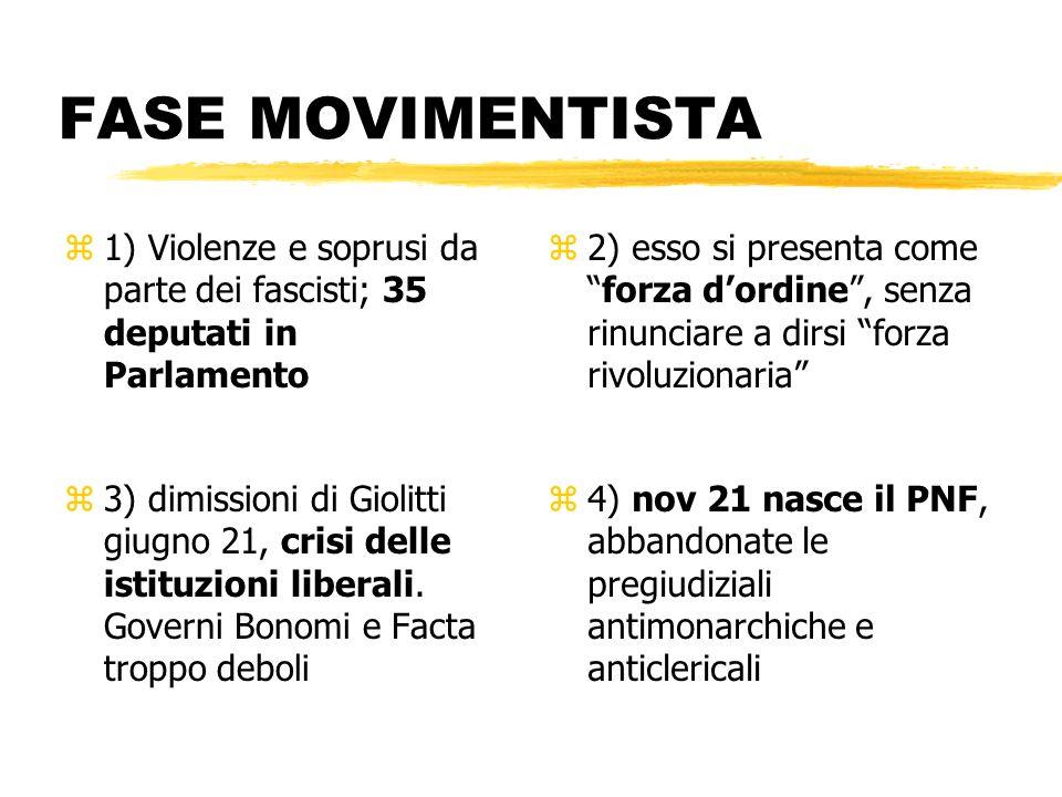 FASE MOVIMENTISTA z1) Violenze e soprusi da parte dei fascisti; 35 deputati in Parlamento z 2) esso si presenta comeforza dordine, senza rinunciare a