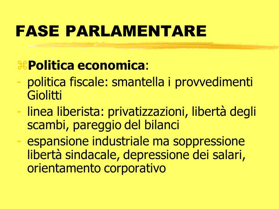 FASE PARLAMENTARE zPolitica economica: -politica fiscale: smantella i provvedimenti Giolitti -linea liberista: privatizzazioni, libertà degli scambi,