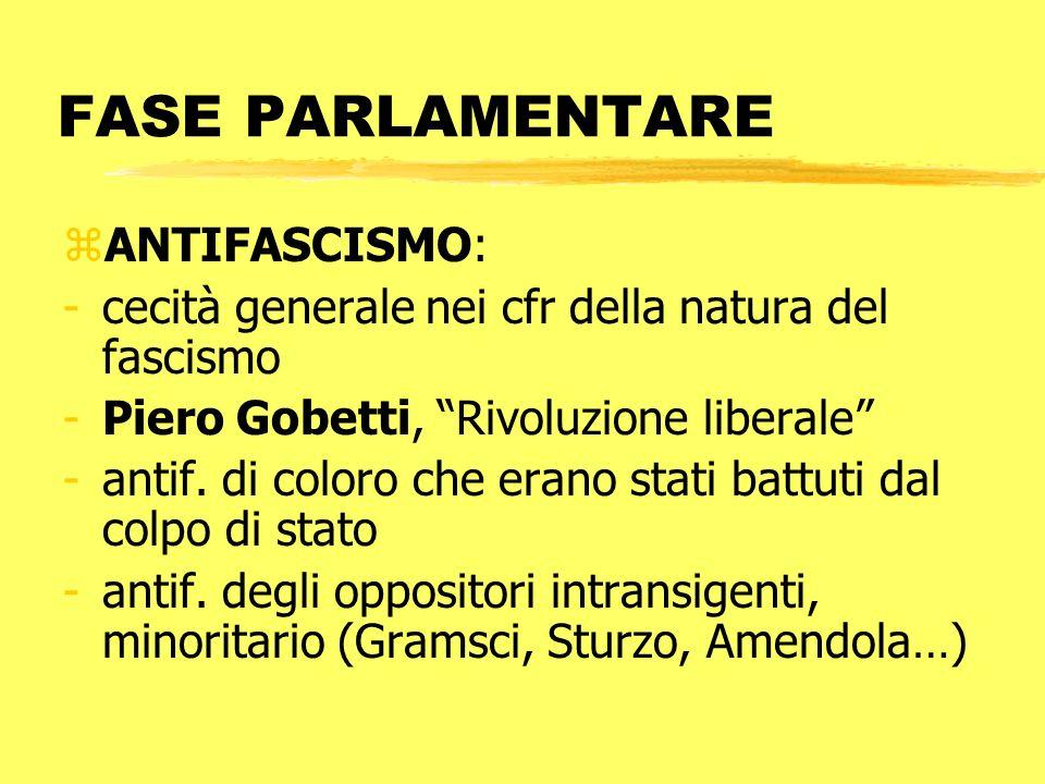 FASE PARLAMENTARE zANTIFASCISMO: -cecità generale nei cfr della natura del fascismo -Piero Gobetti, Rivoluzione liberale -antif. di coloro che erano s