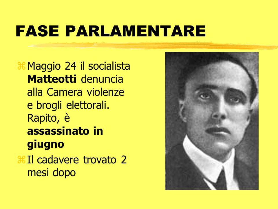 FASE PARLAMENTARE zMaggio 24 il socialista Matteotti denuncia alla Camera violenze e brogli elettorali. Rapito, è assassinato in giugno zIl cadavere t