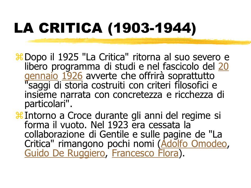 LA CRITICA (1903-1944) zDopo il 1925