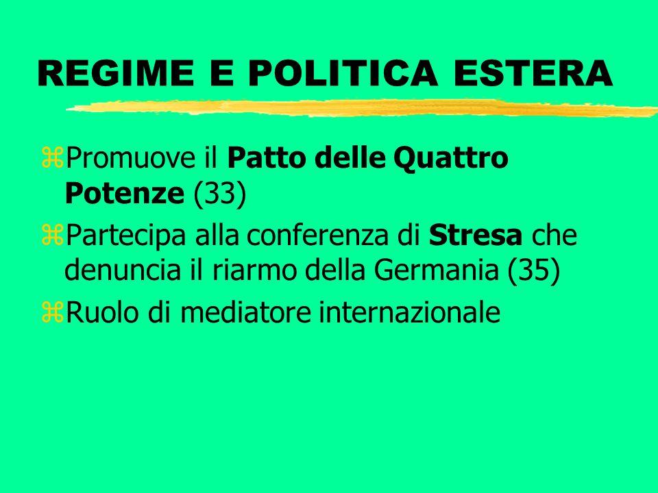 REGIME E POLITICA ESTERA zPromuove il Patto delle Quattro Potenze (33) zPartecipa alla conferenza di Stresa che denuncia il riarmo della Germania (35)