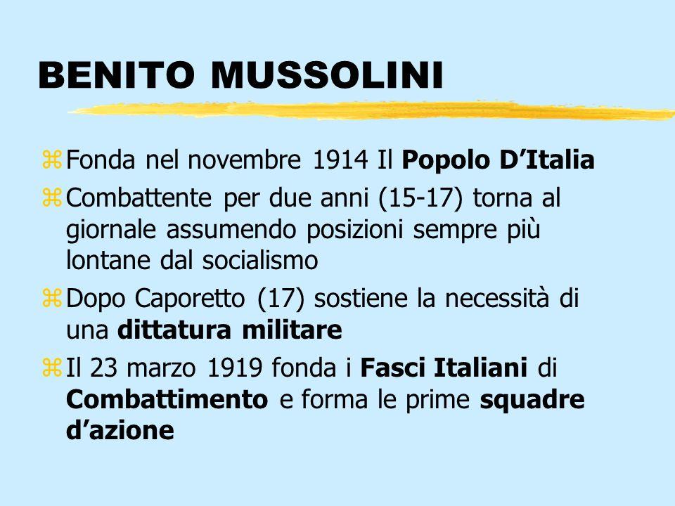 BENITO MUSSOLINI zFonda nel novembre 1914 Il Popolo DItalia zCombattente per due anni (15-17) torna al giornale assumendo posizioni sempre più lontane