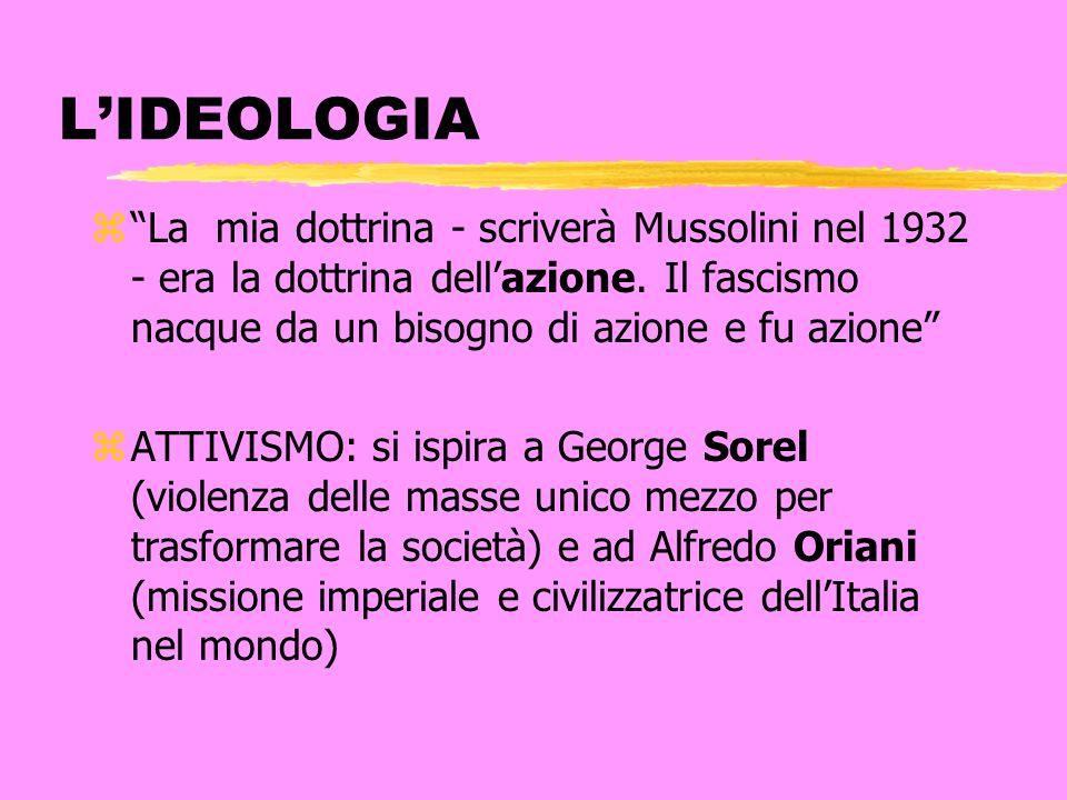 LIDEOLOGIA zLa mia dottrina - scriverà Mussolini nel 1932 - era la dottrina dellazione. Il fascismo nacque da un bisogno di azione e fu azione zATTIVI