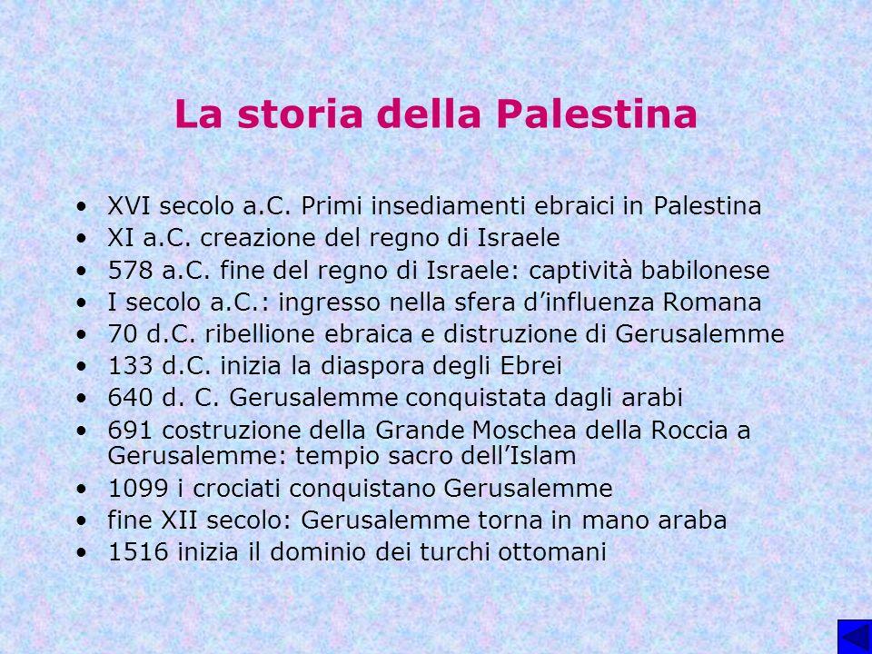 La storia della Palestina XVI secolo a.C. Primi insediamenti ebraici in Palestina XI a.C. creazione del regno di Israele 578 a.C. fine del regno di Is
