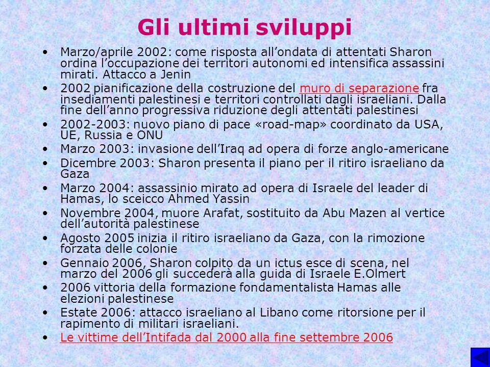 Gli ultimi sviluppi Marzo/aprile 2002: come risposta allondata di attentati Sharon ordina loccupazione dei territori autonomi ed intensifica assassini