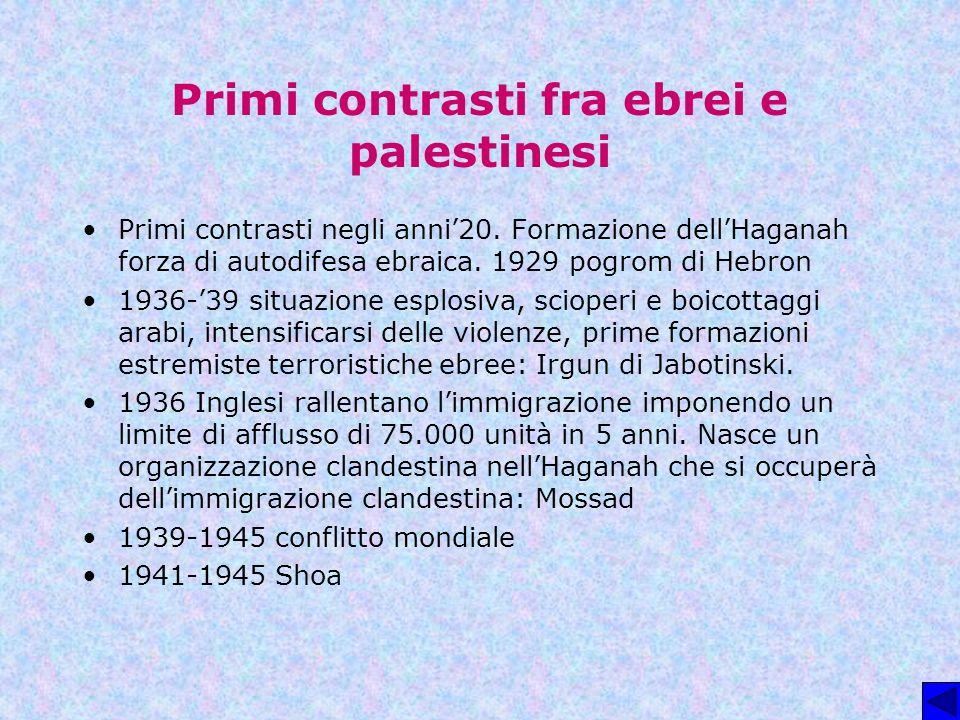 Primi contrasti fra ebrei e palestinesi Primi contrasti negli anni20. Formazione dellHaganah forza di autodifesa ebraica. 1929 pogrom di Hebron 1936-3