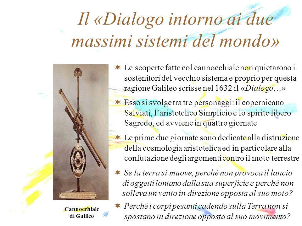 Il «Dialogo intorno ai due massimi sistemi del mondo» Cannocchiale di Galileo Le scoperte fatte col cannocchiale non quietarono i sostenitori del vecc