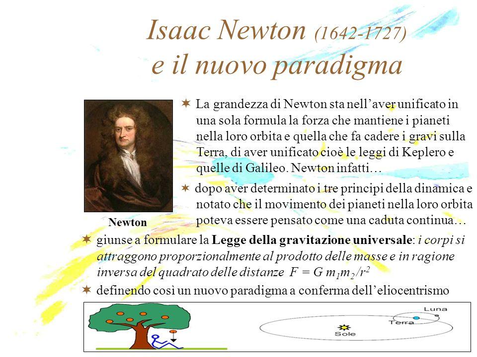 Isaac Newton (1642-1727) e il nuovo paradigma Newton La grandezza di Newton sta nellaver unificato in una sola formula la forza che mantiene i pianeti