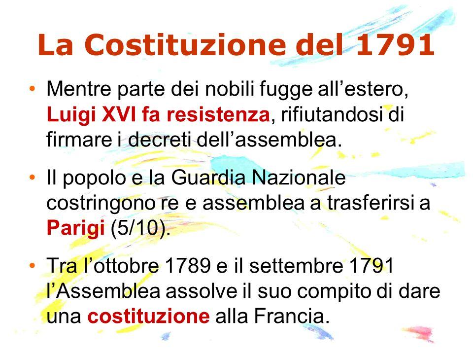 La Costituzione del 1791 Mentre parte dei nobili fugge allestero, Luigi XVI fa resistenza, rifiutandosi di firmare i decreti dellassemblea. Il popolo