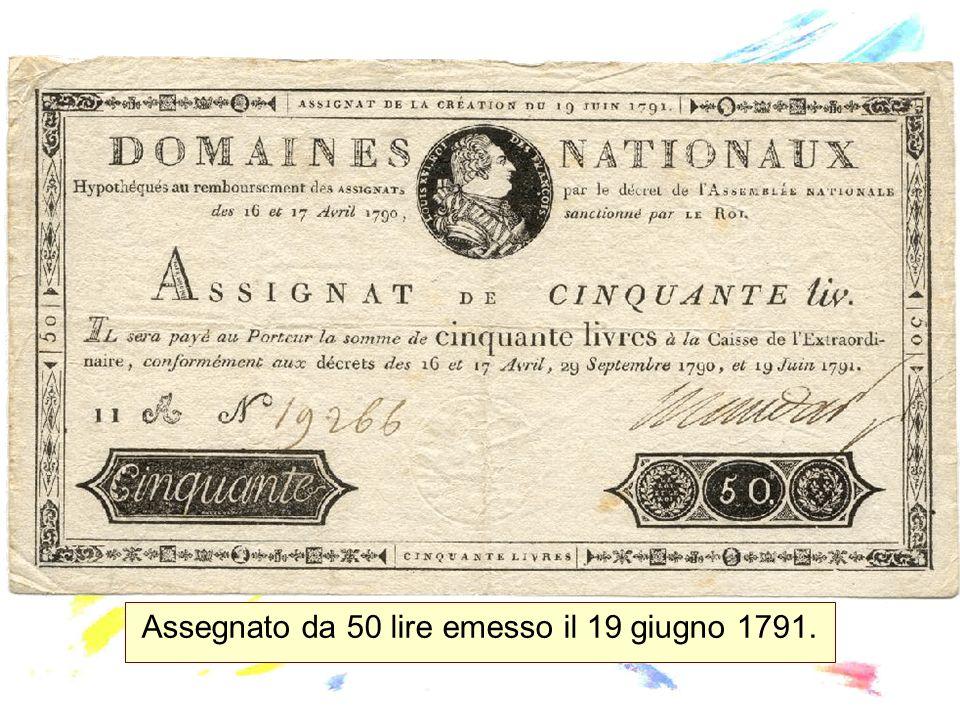 Assegnato da 50 lire emesso il 19 giugno 1791.