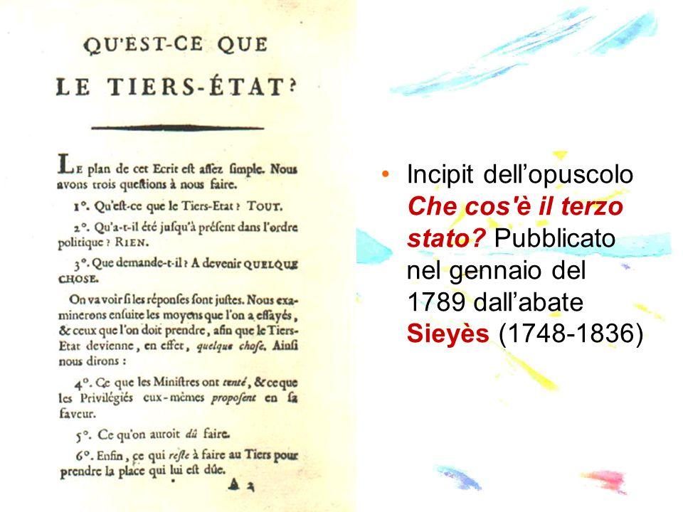Incipit dellopuscolo Che cos'è il terzo stato? Pubblicato nel gennaio del 1789 dallabate Sieyès (1748-1836)