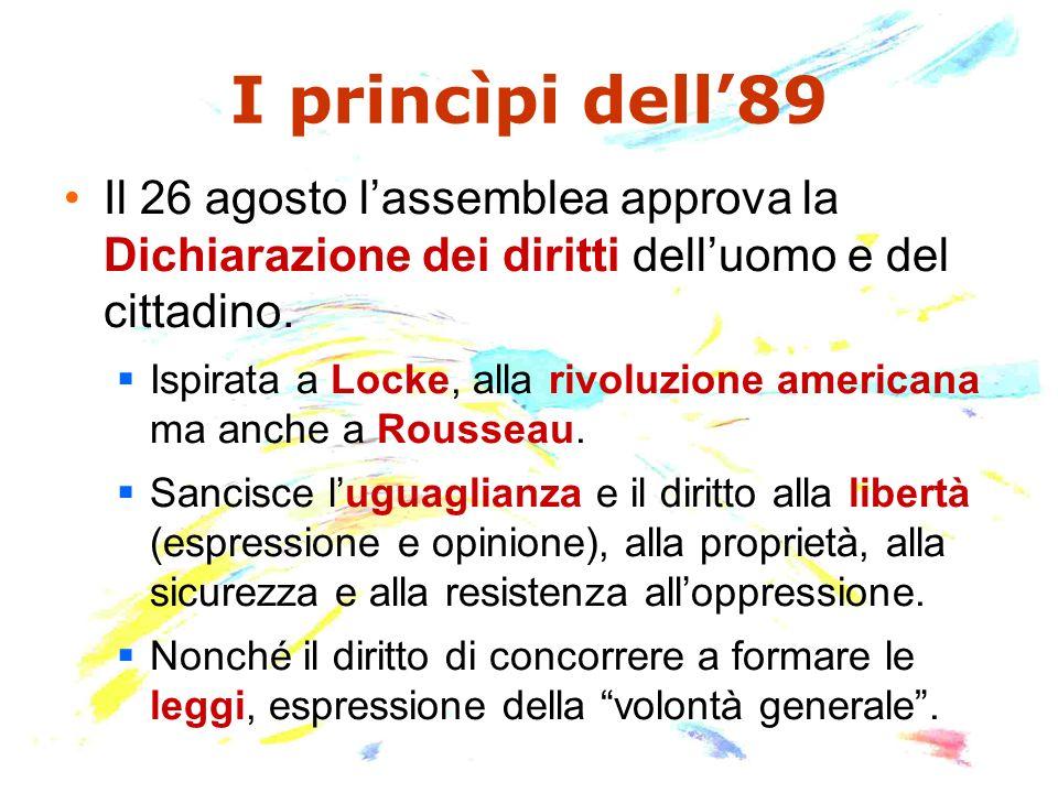 I princìpi dell89 Il 26 agosto lassemblea approva la Dichiarazione dei diritti delluomo e del cittadino. Ispirata a Locke, alla rivoluzione americana