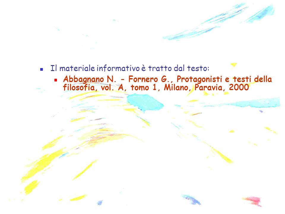 Il materiale informativo è tratto dal testo: Abbagnano N. - Fornero G., Protagonisti e testi della filosofia, vol. A, tomo 1, Milano, Paravia, 2000