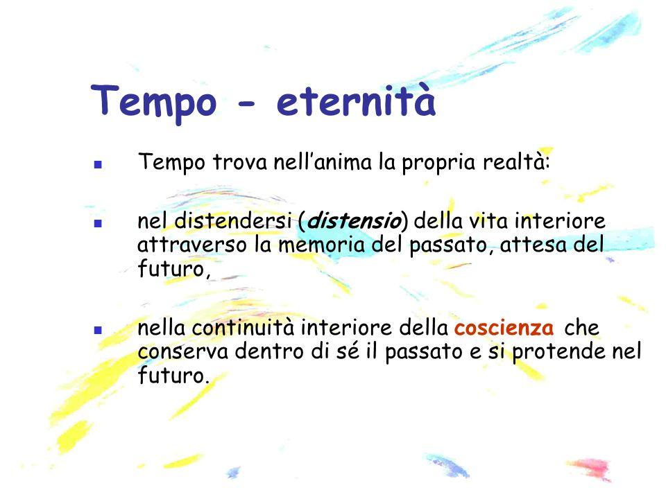 Tempo trova nellanima la propria realtà: nel distendersi (distensio) della vita interiore attraverso la memoria del passato, attesa del futuro, nella