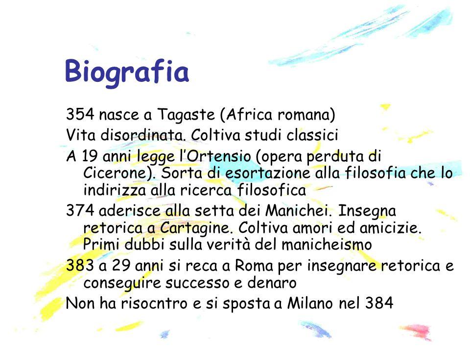 354 nasce a Tagaste (Africa romana) Vita disordinata. Coltiva studi classici A 19 anni legge lOrtensio (opera perduta di Cicerone). Sorta di esortazio