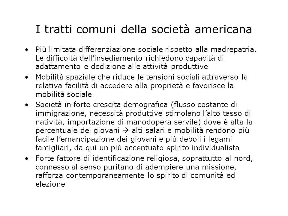 I tratti comuni della società americana Più limitata differenziazione sociale rispetto alla madrepatria.