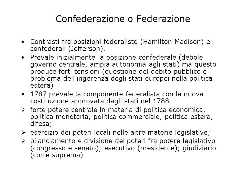 Confederazione o Federazione Contrasti fra posizioni federaliste (Hamilton Madison) e confederali (Jefferson).