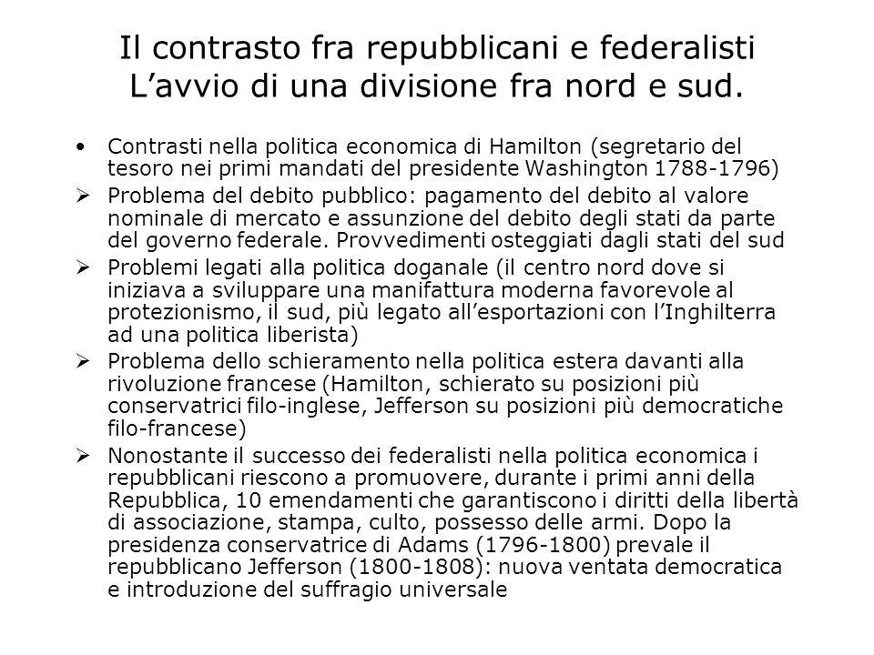 Il contrasto fra repubblicani e federalisti Lavvio di una divisione fra nord e sud.
