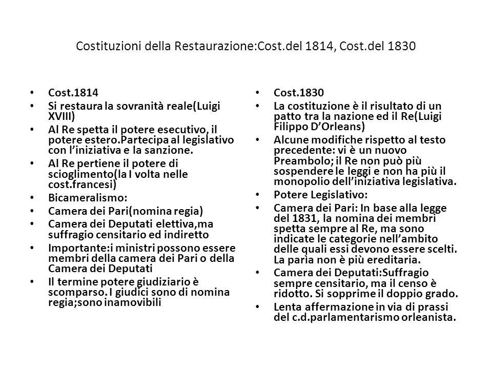 Costituzioni della Restaurazione:Cost.del 1814, Cost.del 1830 Cost.1814 Si restaura la sovranità reale(Luigi XVIII) Al Re spetta il potere esecutivo,