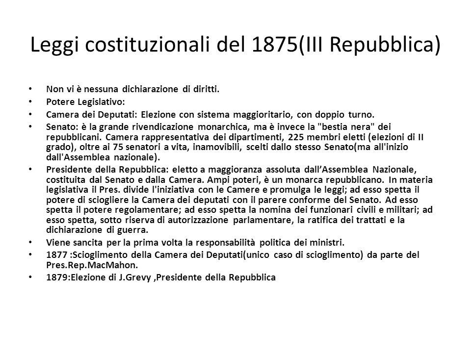 Leggi costituzionali del 1875(III Repubblica) Non vi è nessuna dichiarazione di diritti. Potere Legislativo: Camera dei Deputati: Elezione con sistema